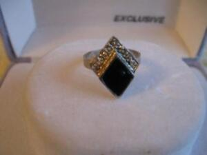 TINY OLD VINTAGE UNUSUAL-SHAPED SILVERTONE ONYX PINKIE RING
