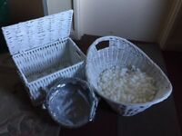 White baskets and Hamper for wedding accessories