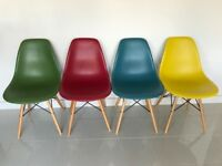 8 Eames Style Dining Chairs in multi colours (2 in each colour). Good condition!