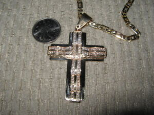 Large 14k Gold Cross Pendant with 90 Diamonds