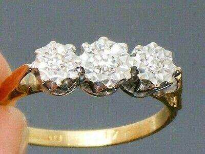 18ct Gold 18K Gold 0.15ct Diamond Hallmarked Vintage Ring size L