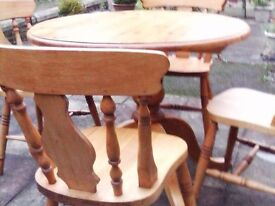 PINE CHAIRS ( 4) AND TABLE