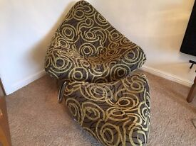 Olive green pattern Arm chair & foot stool