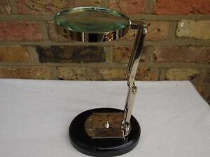 SUPERB QUALITY ANTIQUE STYLE LARGE CHROME HANDS-FREE DESK TOP MAGNIFYING GLASS