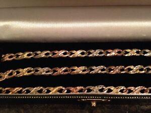 bracelet et chaine en or 3 couleurs   10 K