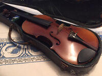 violin (1960s), full size, fully strung, case tatty, no bow