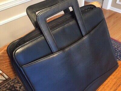 Black Leather Business Portfolio Folder Binder . . . Perfect Condition