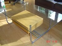 Glass Coffee table with wooden draw suitable for Home or Office