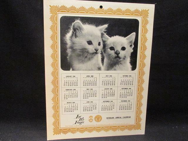 Pair of Kittens 1966 Veterans Annual Calendar Lest We Forget