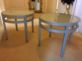 Set of two round tables with frosted glass tops
