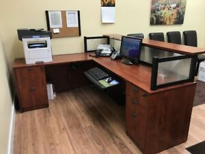 Reception Desk L shaped in excellent condition 780 dollars OBO
