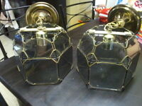 2 BRASS AND SMOKED GLASS HANGING LAMPS