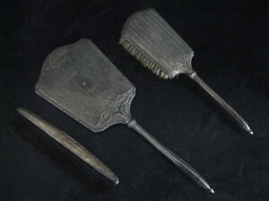 VINTAGE 3 PIECE (CAN BE INGRAVED) SILVER VANITY SET