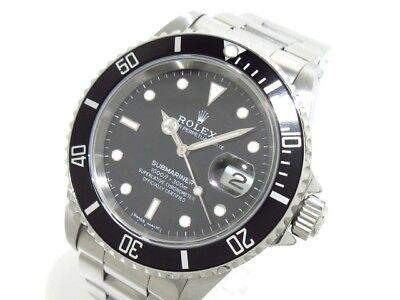 Auth ROLEX SubmarinerThe Date 16610 Black Silver W474015