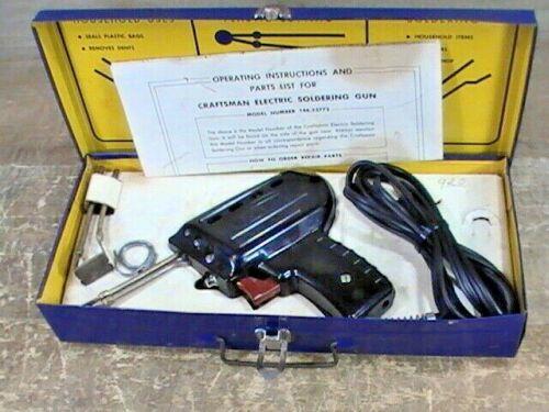 Vintage & Tested Craftsman #146.53772 Soldering Gun Kit W/ Light & Manual / Case
