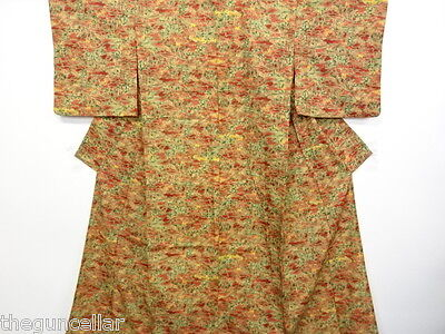 ANTIQUE / VINTAGE JAPANESE HITOE KIMONO, SCENERY, NICE COLORFUL MATERIAL