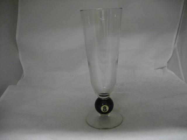Pilsner Glass Billiard Pool Ball No. 8