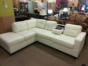 Today's SPECIAL Get this BRAND NEW MODERN SECTIONAL WITH cupholders and  REVERSABLE STORAGE CHAISE ONLY $988