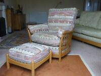 'ERCOL' Renaissance Armchair and Footstool
