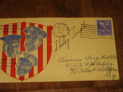 WWII PATRIOTIC ENVELOPE AUTOGRAPHED BY SHIRLEY TEMPLE 128