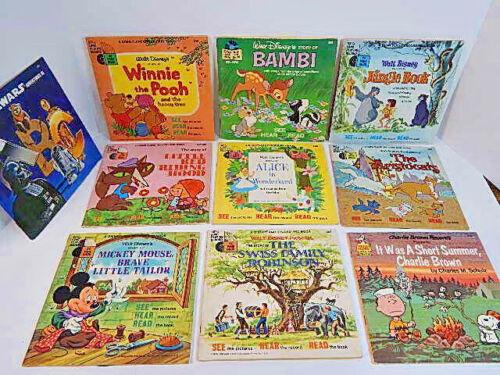 Walt Disney - Disneyland Record and Book Lot of TEN!!  33-1/3 LP Records/24 pg.