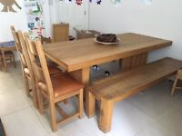 Solid Wood Dining Table, 2 Benches and 2 Chairs