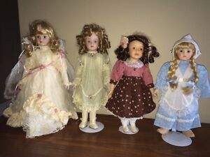 Collector Porcelain Dolls with Stands, Certificates