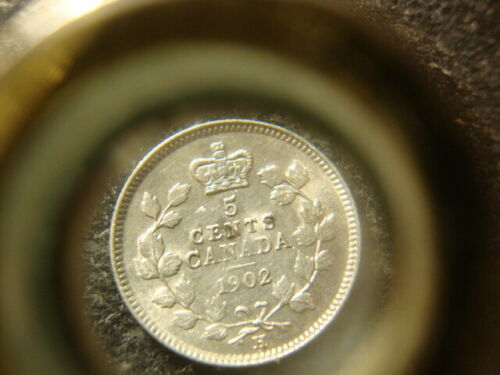 1902-H BU Canada Large H Five Cents Silver Nice Coin D2X