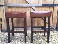 2 tan faux leather kitchen bar stools