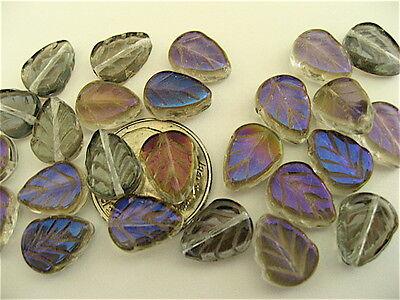 - SALE! 50 Crystal Iris Blue Luster Czech Glass Leaves 10mm x 8mm