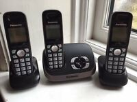 3 X Panasonic KX-TG6521E Trio Phones with Answering Machine