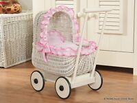 Traditional wicker dolls pram brand new , 2 styles available