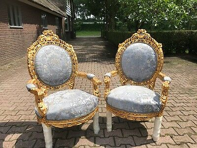 ANTIQUE CHAIR SET-- FRENCH LOUIS XVI STYLE: 2 CHAIRS-- 19TH CEN. SET