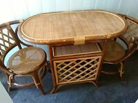 patio, wicker style lightweight table and two chairs