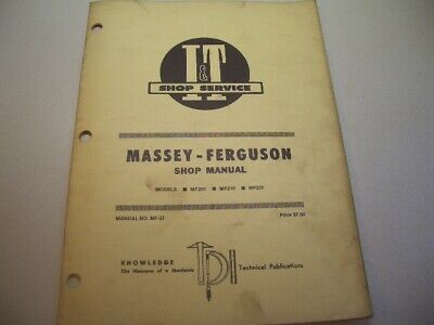 It Shop Manual Massey-ferguson Mf-37 Models Mf205 Mf210 Mf220 1981 Box J3