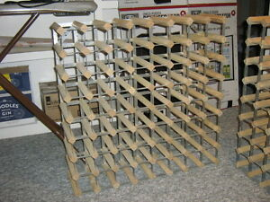 Two 72-bottle wood and steel wine racks