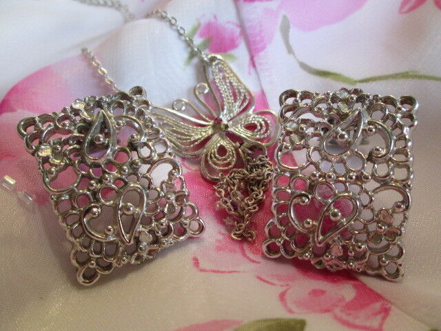 Vintage Silver-tone Butterfly Tassel Necklace Emmons Clip-on Earring Jewelry Lot