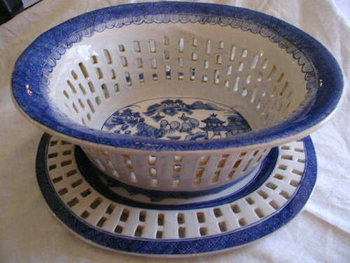 Large Canton Chinese Export Blue & White Reticulated Basket & Underplate Repro.