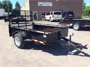 (2016) 5x8 SINGLE AXLE STEEL SIDE UTILITY TRAILER - MESH RAMP