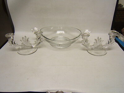 """Fostoria """"Baroque"""" Console Bowl with Pair of Double Candlesticks Mint Condition"""