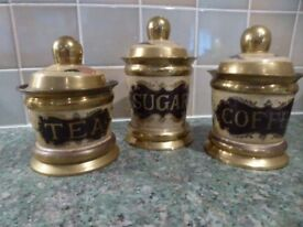 3 Vintage Brass Canisters with Floral design in pink, green & cream colours - Tea, Coffee, Sugar