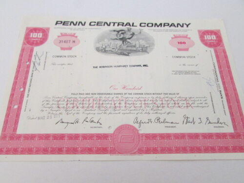 Vintage Railroad Stock Bond Certificate # 9 Expired