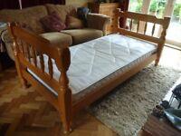 Chunky Good Quality Pine Single Bed & Mattress