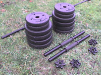 Dumbbell barbell Weights and Bars 67.8 lb's 30.8 kg approx