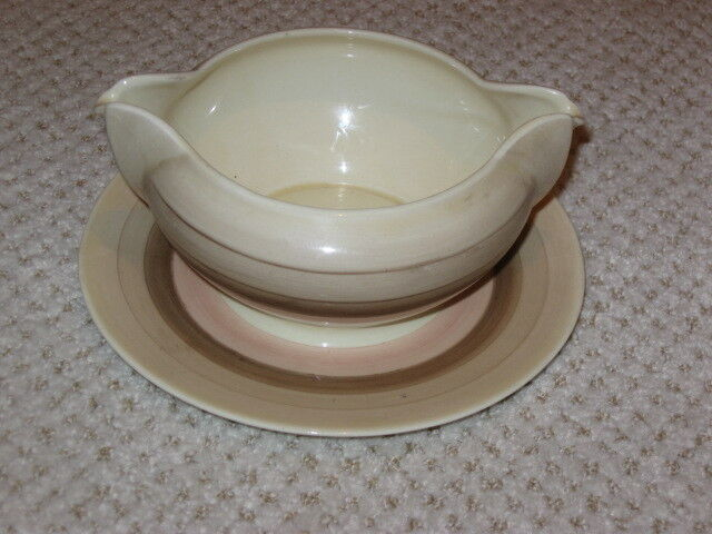 "SUSIE COOPER  ""WEDDING RING""  GRAVY BOAT  ---   BROWN, BEIGE, PINK"