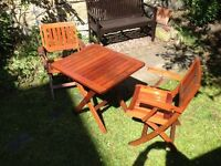 Solid Teak Folding Garden Chairs and Table