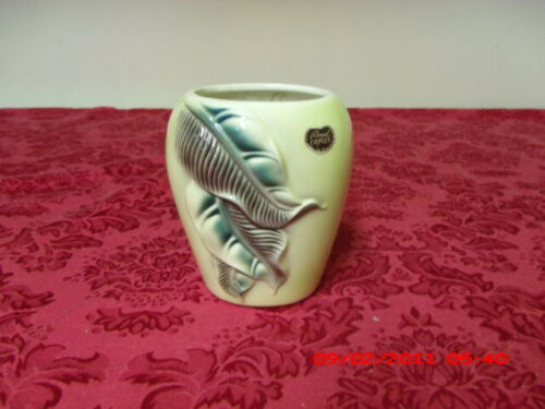 VINTAGE ROYAL COPLEY GREEN LEAF VASE