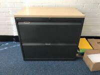 Filing cabinet, two drawer, with key, Ideal for standing a printer on