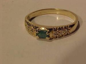 #876-14K YELLOW GOLD EMERALD & 6 DIAMOND RING SIZE 8-FREE LAYAWAY TIL CHRISTMAS