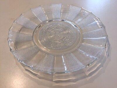 "VINTAGE DEPRESSION JEANETTE GLASS DEWDROP SANDWICH PLATE DISH 11-1/2"" 1953-56"